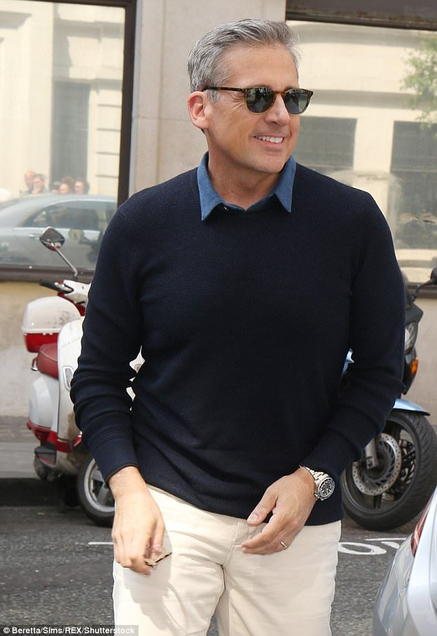 Sexy new look: Steve Carell debuted his sexy silver fox look when he was in London last week promoting his new film, Despicable Me 3