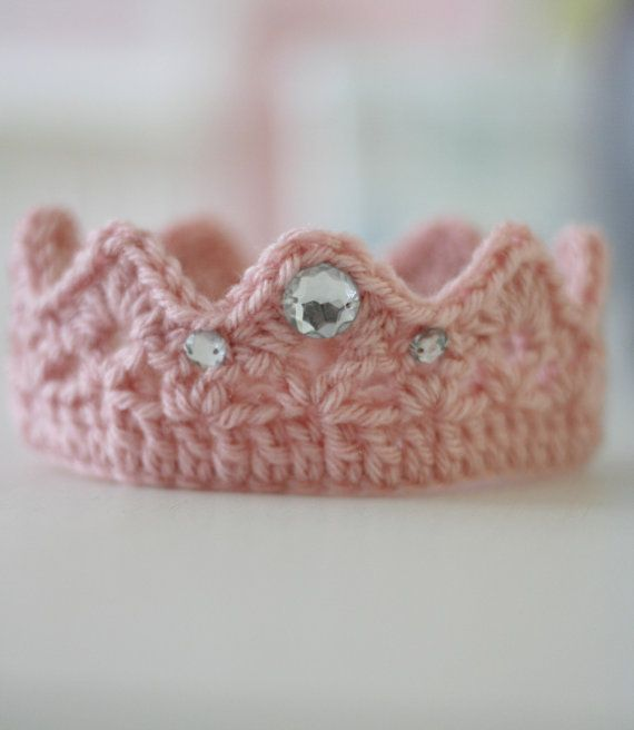 Crochet Crown Newborn Photo Prop Pink via Etsy