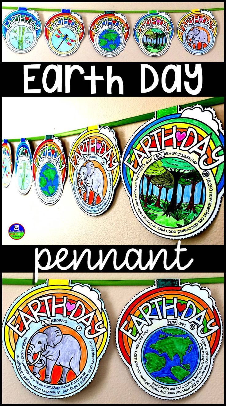 Earth Day pennant activity. Kids learn cool facts about Earth, its environment, plants and animals while solving math problems involving + - x /.