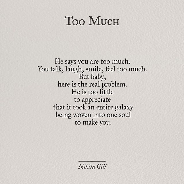Too Much - Nikita Gill