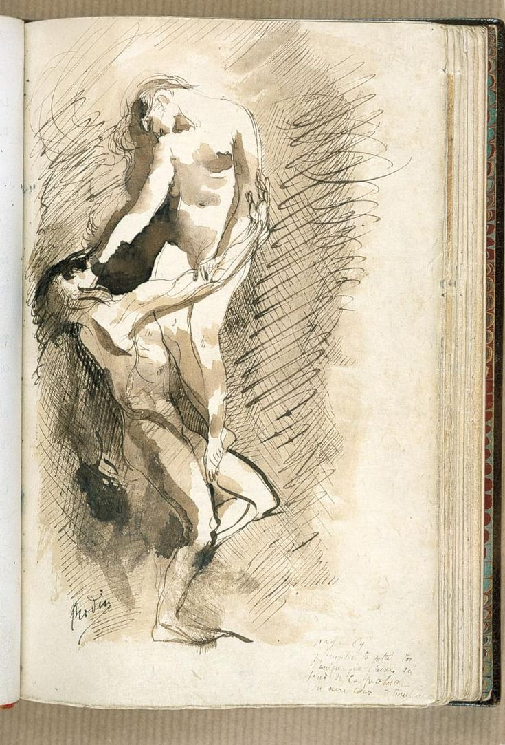 Auguste Rodin (1840 -1917), De Profundis Clamavi, 1887-88, Pen and brown ink, brown ink wash, on a page from a copy of the original edition of Flowers of Evil