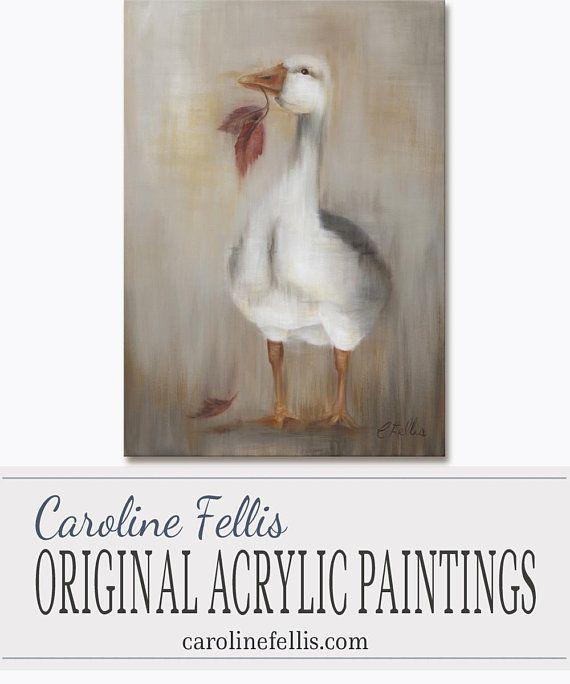 White Goose painting in acrylic  Acrylic original art