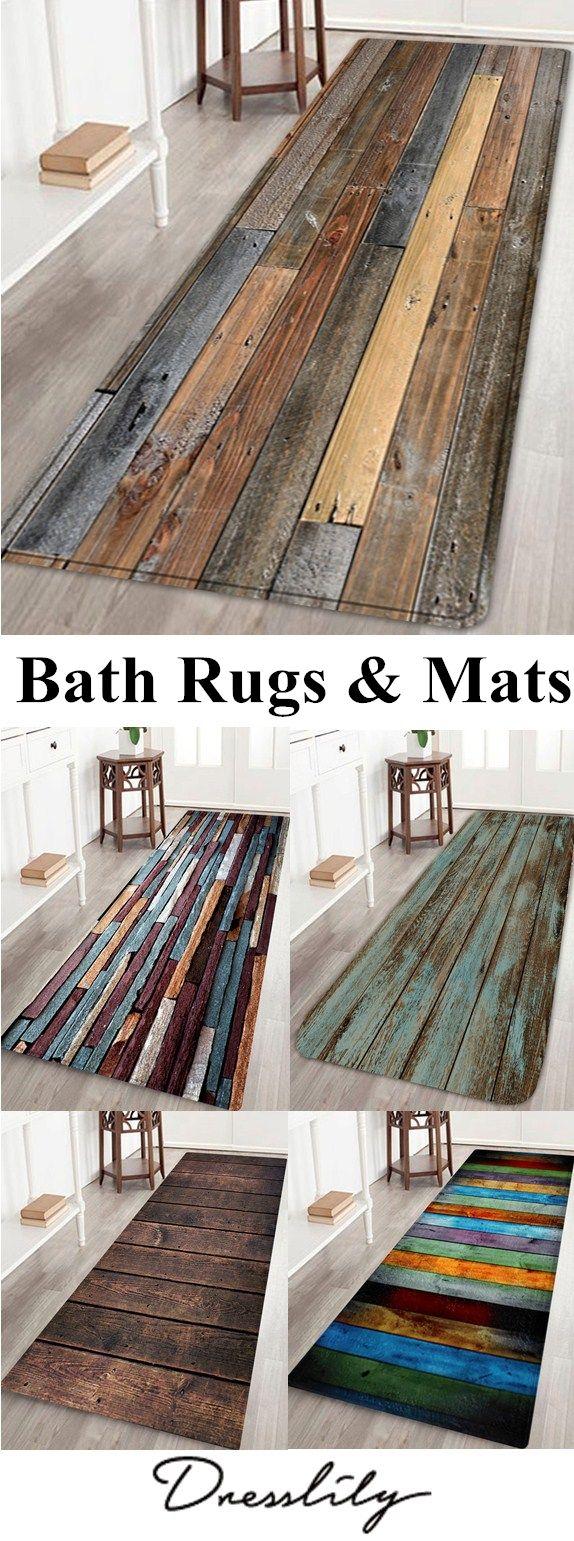 Up to 60% off. Free shippping over$39..Joint wood board pattern bathroom mat. - Water absorbing flannel, sponge interlayer, non-ski… | Bath rugs & Mats | Pinte…