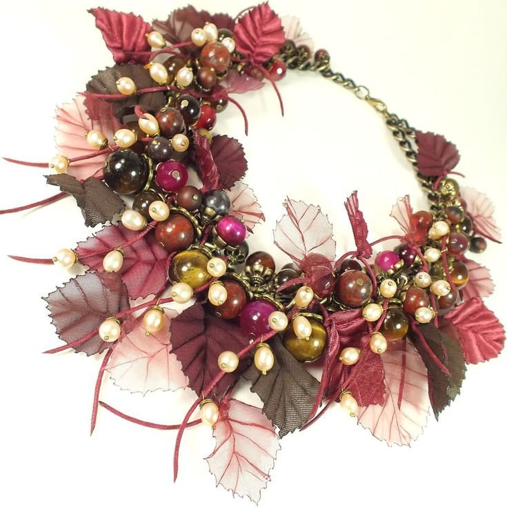 Handmade Celebration of Beaujolais. Necklace made of natural stone - necklace with stones
