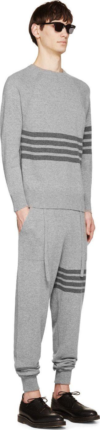 Thom Browne: Grey Cashmere Signature Stripe Lounge Pants