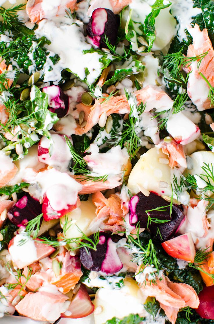 smoked trout, heirloom beets and kale salad with a buttermilk dill dressing. So fresh healthy and how cool are the colours!