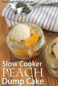 5-Ingredient Peach Dump Cake | AllFreeSlowCookerRecipes.com