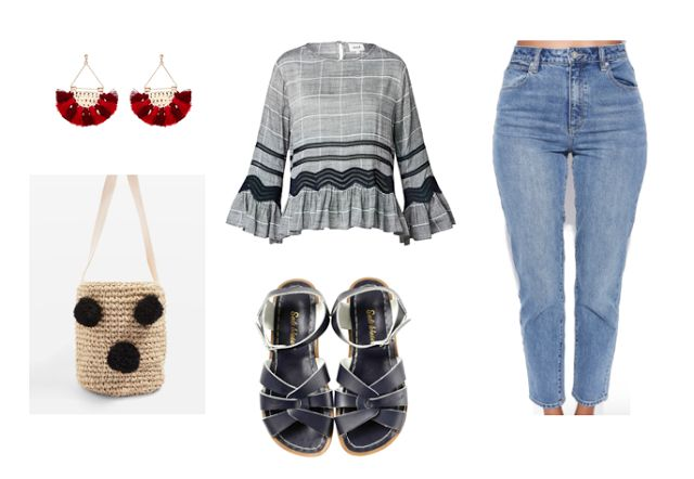 style// fashion// blogger #momjeans #earrings #bag #saltwatersandals