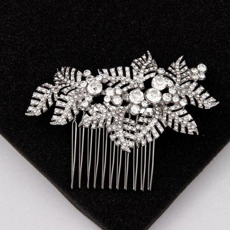 Vintage Leaf Bridal Hair Combs Rhinestones Silver