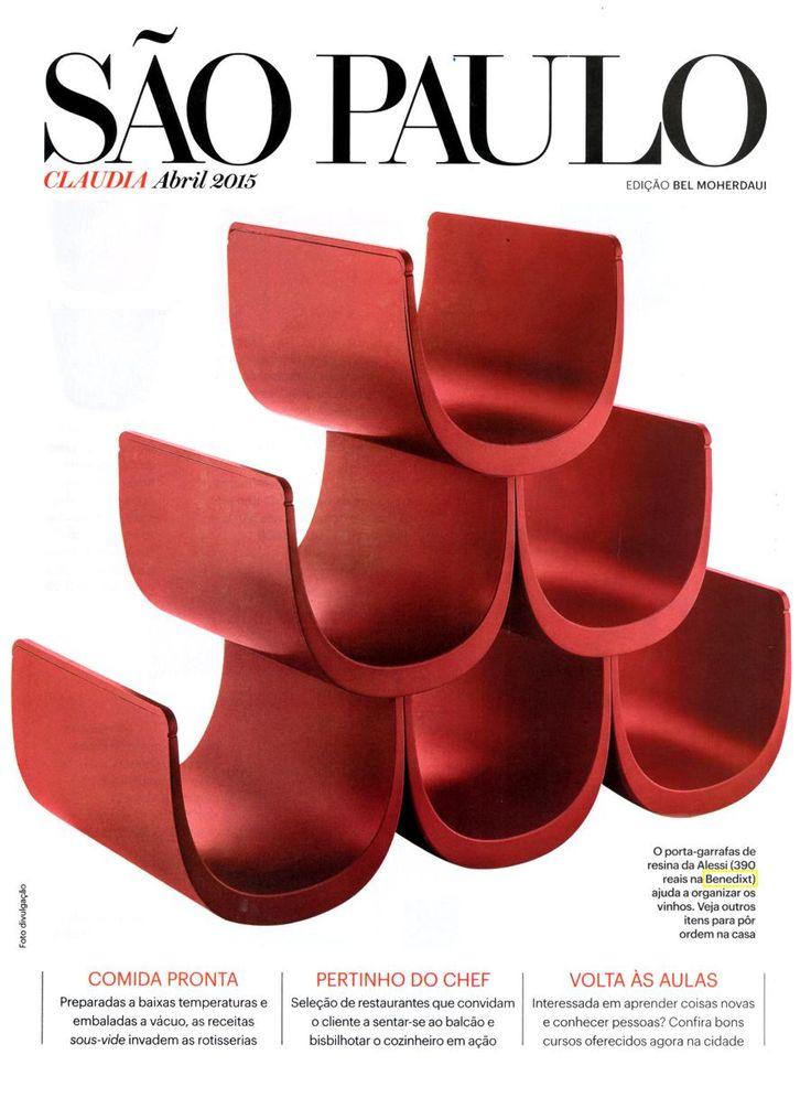 Porta garrafa de vinho Noé, da marca italiana Alessi. Revista Cláudia, edição Bel Moherdaui. Ed. abril.