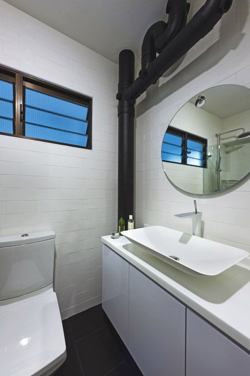 Bathroom In White And Black Expose Piping Hdb Home Decor Pinterest Singapore Home And The