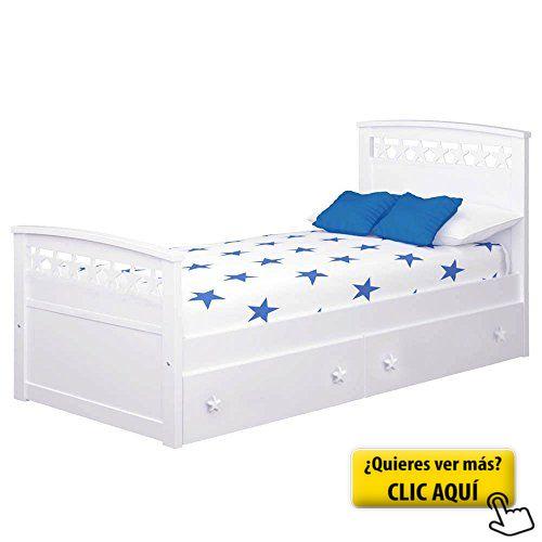 Cama infantil Estrellas con cajones (Colchón 105... #cama