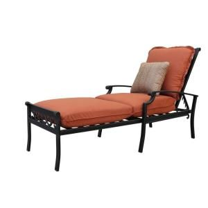 Thomasville messina patio chaise lounge with paprika for Belmont brown wicker patio chaise lounge