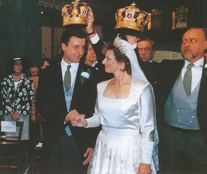 Princess Marareta of Romania, who borrowed the Cartier tiara originally made for Adele, Countess of Essex, 1902, when she wed Radu Duda, in 1996