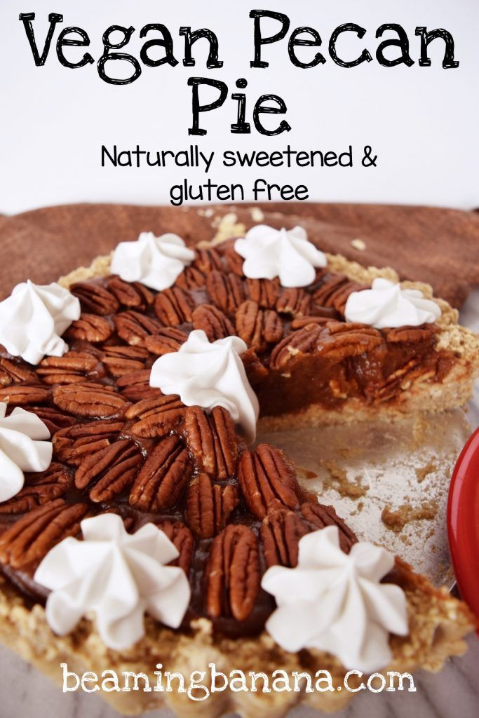 Sweet, gooey, vegan pecan pie. Packed with pecans and fall spices, this ooey gooey pie is so rich. A must make, healthy Thanksgiving dessert! Gluten free and sweetened naturally. | beamingbanana.com