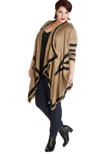 Amidst the Mountains Cardigan in Plus Size - Knit, Tan, Black, Stripes, Casual, Long Sleeve