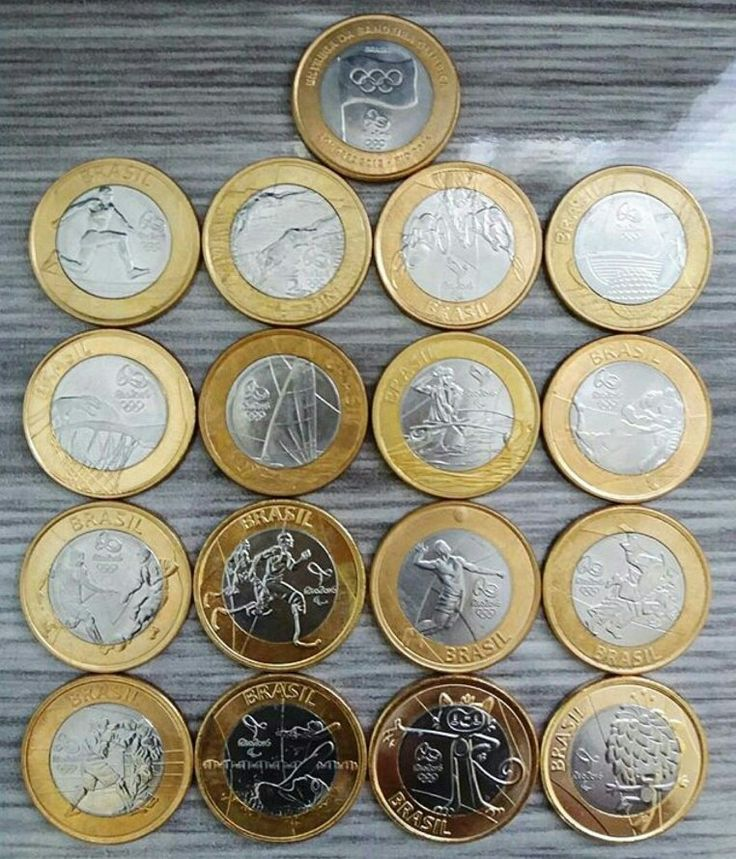Coins from Brazil showing sports from the 2016 Rio Olympics