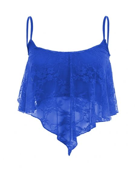 Dharma Royal Blue Flare Lace Crop Top