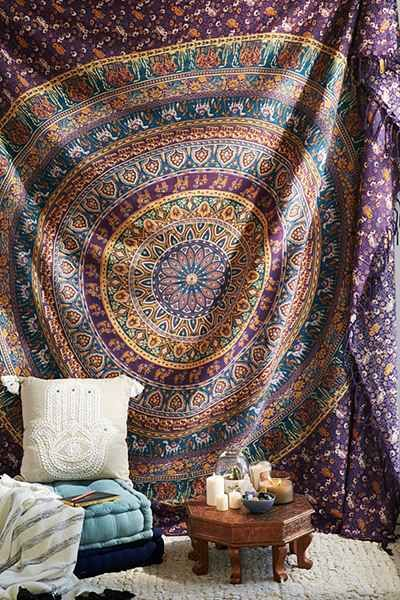 Magical Thinking Turquoise Elephant Medallion Tapestry - Urban Outfitters