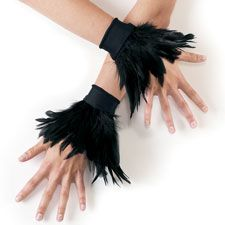 Black Feather Wrist Cuffs - Balera