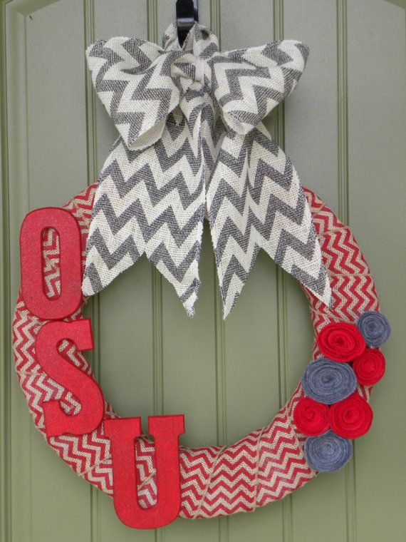The Ohio State University wreath for college by ChicnessDesigns, $40.00