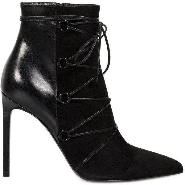 Saint Laurent Lace-Up Ankle Boot in Black Suede and Leather - Size 38 ($599) ❤ liked on Polyvore featuring shoes, boots, ankle booties, black, footwear, women, high heel stilettos, black booties, black leather booties and black pointed toe booties