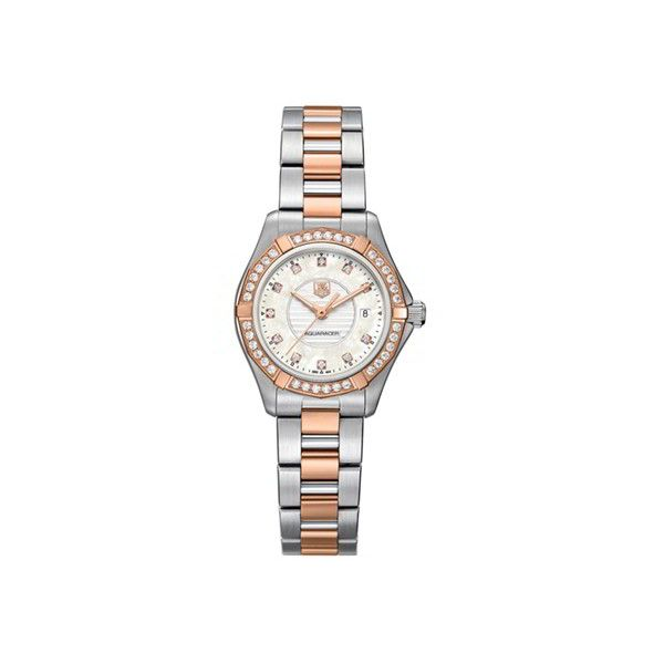 Ladies' TAG Heuer Aquaracer Watch (77 300 ZAR) ❤ liked on Polyvore featuring jewelry, watches, swiss quartz watches, 18k jewelry, tag heuer watches, 18 karat gold jewelry and stainless steel wrist watch