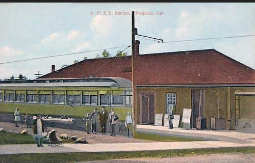 HESPELER, Ontrio -Grand River Railway station in Cambridge Ontario - canadarail c 1908 vintage pc