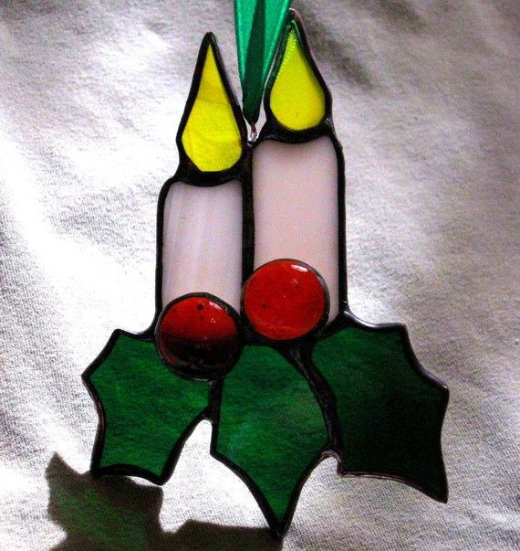 Stained Glass Holly Candles Ornament by windflower on Etsy, $10.00