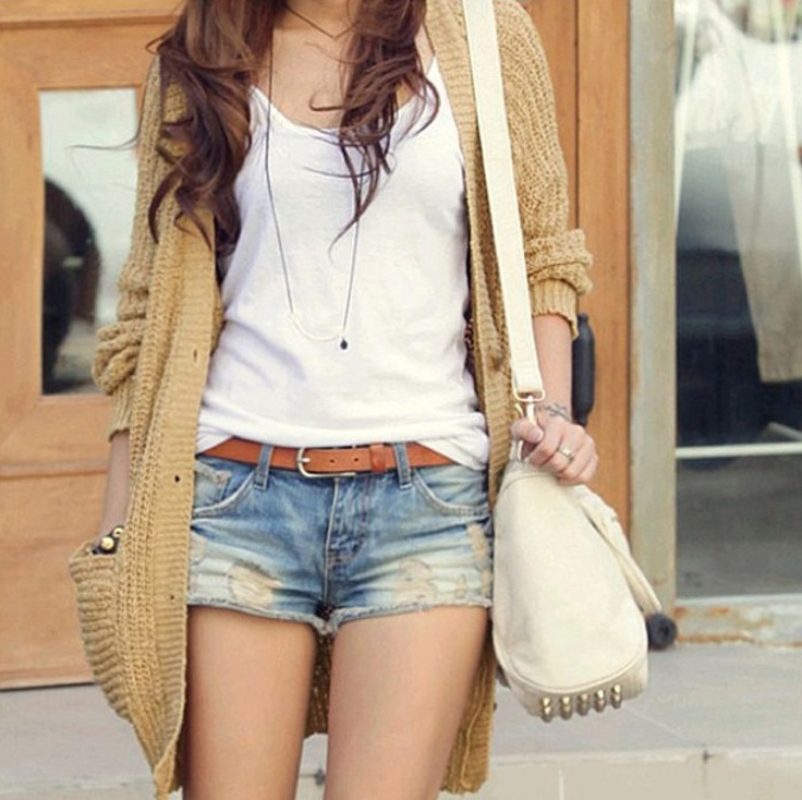 Chill Outfit | Knit, Cozy Cardigan | White Tee | Shorts