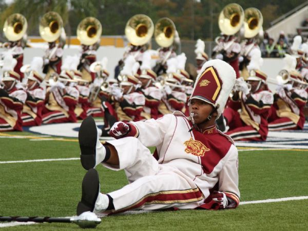 The Bethune Cookman Marching Band Performs At Halftime