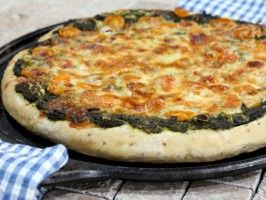 Indian Pizza from Bal Arneson, Spice Goddess.  Substitute cashew butter for the mozzarella to make a vegan version