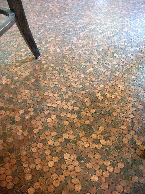 """Penny """"tile"""" floor. This would be lovely for an entry way with the sun hitting it. Cheaper than many tile flooring options!"""