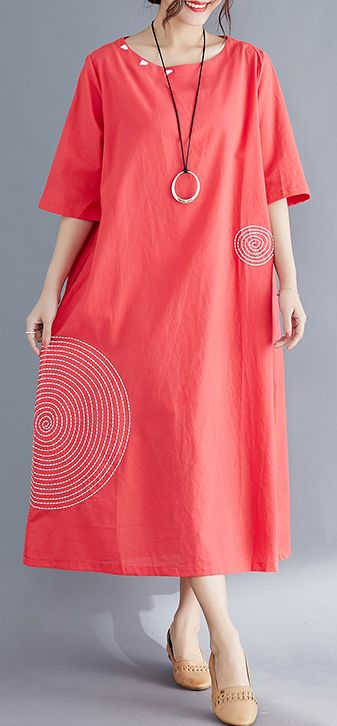 Modern o neck embroidery cotton tunic top Vintage Work Outfits red Maxi Dresses Summer 1
