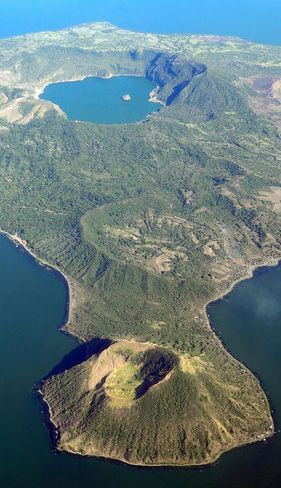 Lake Taal is located on the island of Luzon in the Philippines. Within that lake you'll find Taal Volcano, and atop that volcano you'll find yet another lake. Incredible.