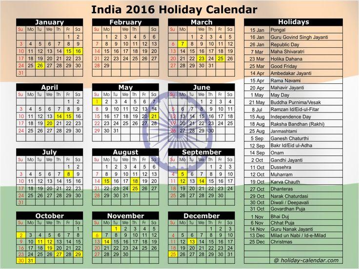 2016 September Calendar India Holiday calendar, November