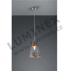 TRIO, Závěsné svítidlo 1xE14 / max.40W / 230V, matný nikl, sklo transparentní