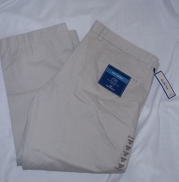 Dockers NWT Tan City Chino Flat Front Slim Fit Khakis Size: 44x30 #DOCKERS #KhakisChinos