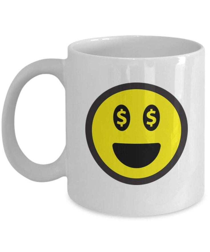 Money Emoji Coffee Mug, Money Emoji Mug, Happy Face Mug, Laughing Emoji Coffee Mug, Makes A Special Gift for Any Occasion.  Great Travel Mug by BearHugBoutique on Etsy