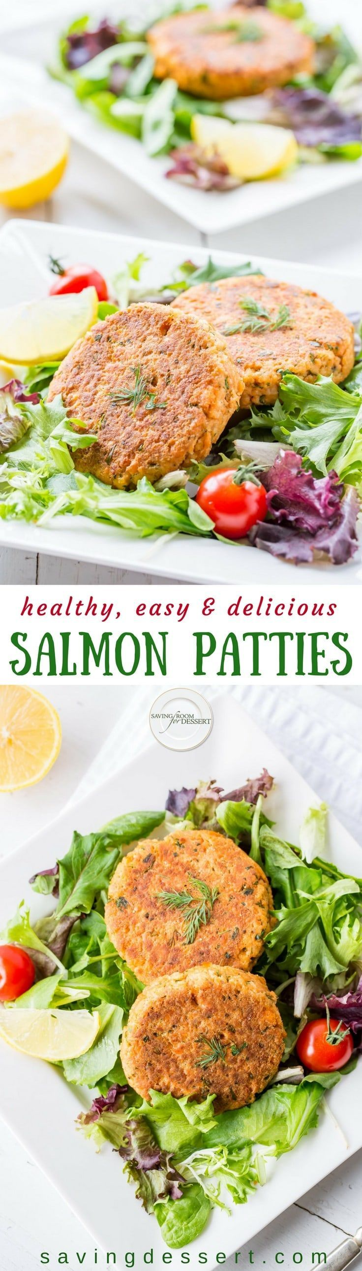 Easy, healthy and delicious, Salmon Patties are a terrific anytime meal loaded with flavor, plenty of protein and are perfect served with salad or as a burger style on a bun. www.savingdessert.com
