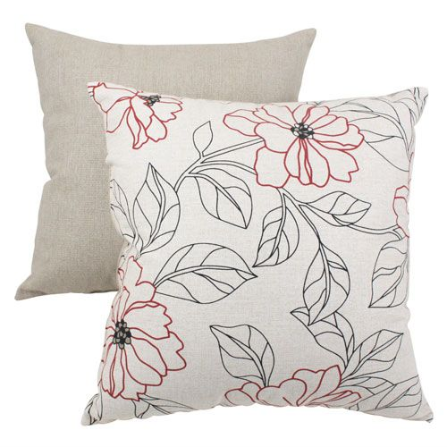 Decorative Red And Beige Floral 16.5 Inch Square Toss Pillow