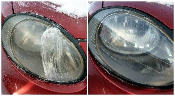 25+ Easy and Useful Car Hacks Every Driver Should Know --> Use Toothpaste to Clean Hazy Car Headlights