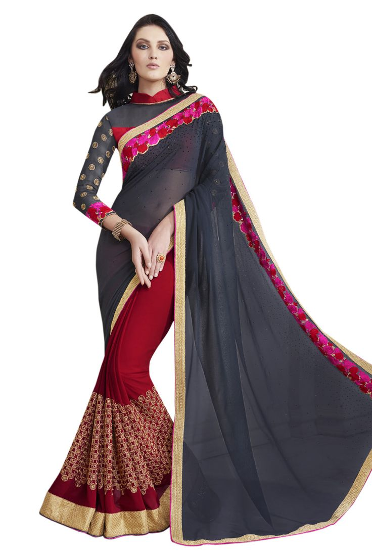 Buy Now Grey-Red Embroidery Work Georgette Half-Half Fancy Saree only at Lalgulal.com. Price :- 2,552/- inr. To ‪#‎Order‬ :- http://goo.gl/Qzlir5 To Order you Call or ‪#‎Whatsapp‬ us on +91-95121-50402 COD & Free Shipping Available only in India.