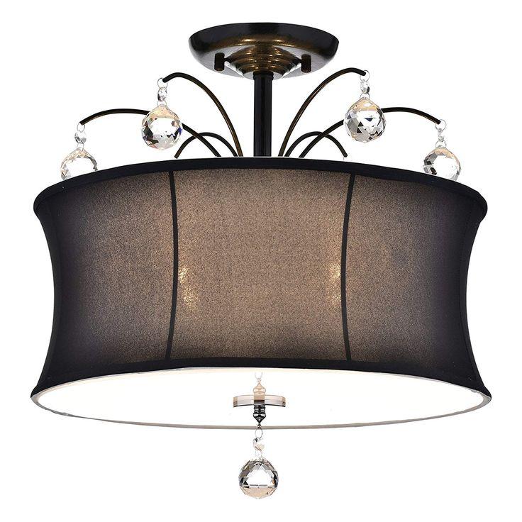 Edvivi 4-Light Black Fabric Drum Shade Semi Flush Mount ...