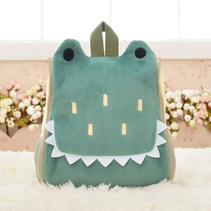Personalized Cute Animal Crocodile Head Shaped Toddler School Backpack Myrtle Green Polyester Cool Cartoon Preppy