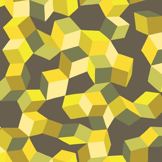 Puzzle Wallpaper A statement wallpaper screen printed with a dizzying cascade of tumbling cubes in army green and acid yellow on a…