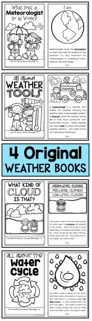 """Learning About Weather"" - This updated set includes new informational texts, comprehension checks, investigations, poems, games, and more! (145 pages / $)"