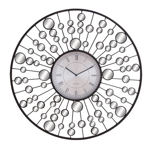 """Found it at Wayfair - 26"""" Metal and Mirror Wall Clock"""