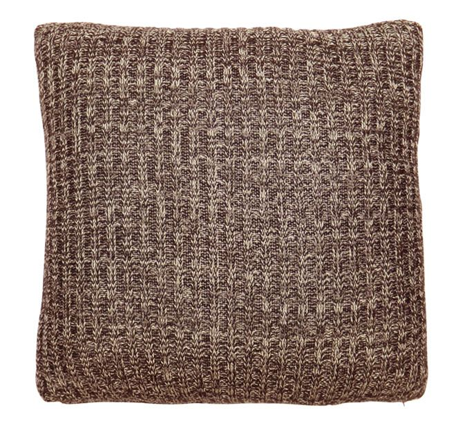 DG37 Ribbed Marl 50x50cm Filled Cushion Chocolate and Natural