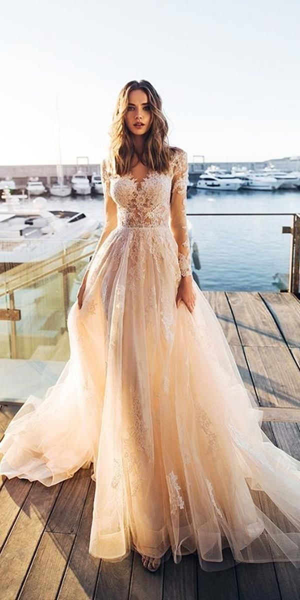 27 Peach Blush Wedding Dresses You Must See Wedding Forward Lace Wedding Dress With Sleeves Wedding Dresses Blush Wedding Dress Champagne